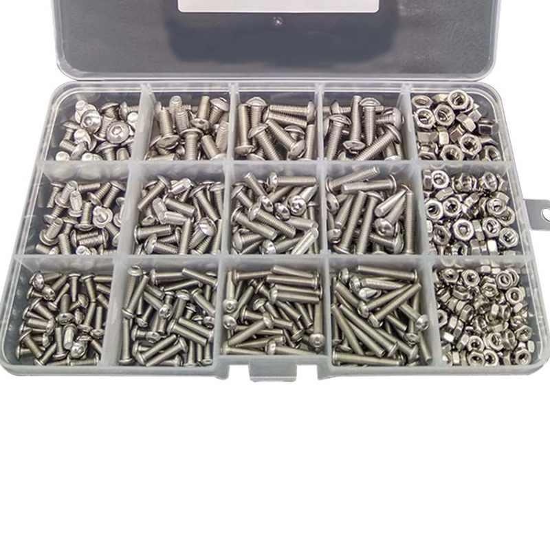 500 Stks/partij M3 M4 M5 Rvs 304 Hexagon Socket Head Cap Socket Schroef Fiets Hex Bout Moer Schroeven Set assortiment Kit 2019