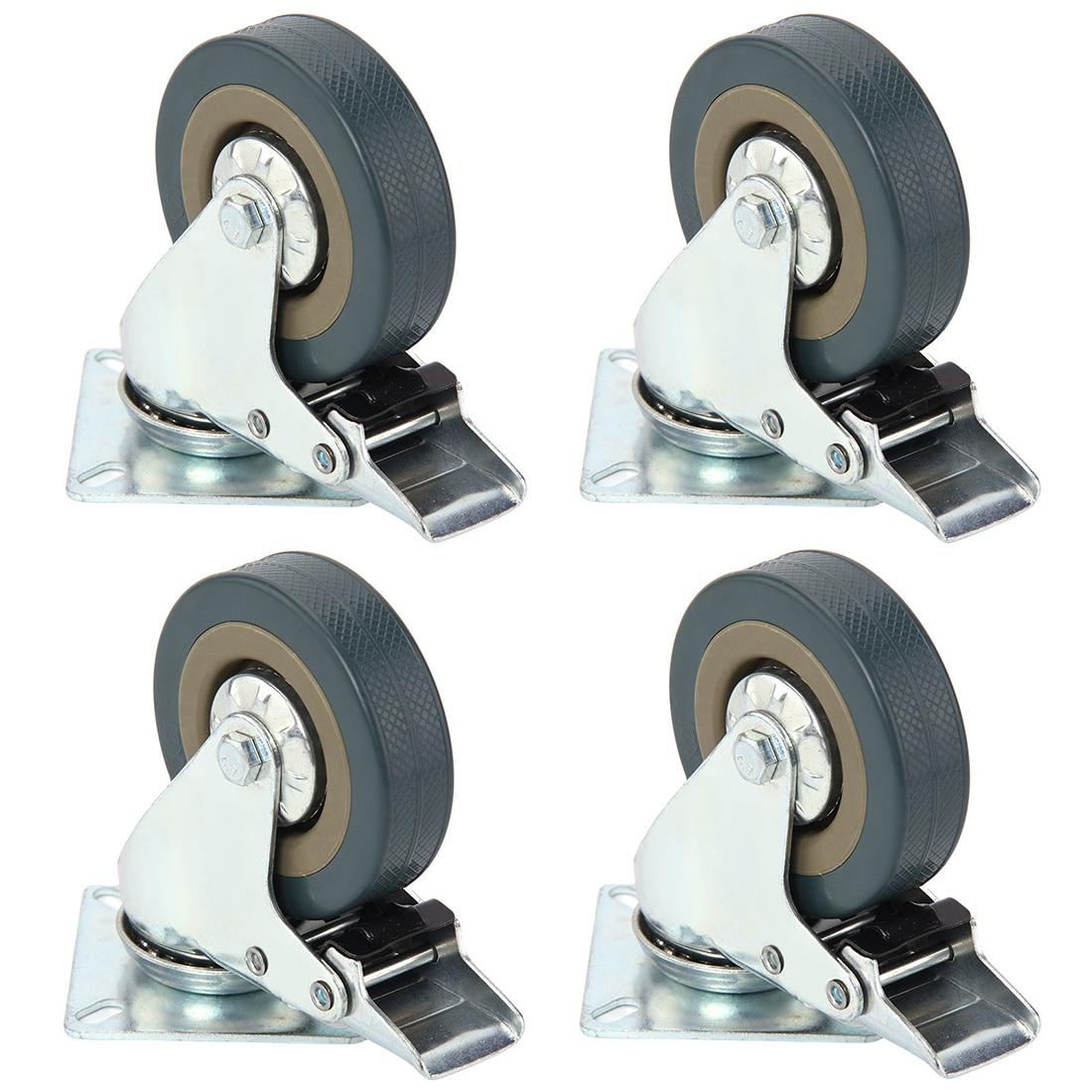 4 Pcs Heavy Duty 75x21mm Rubber Swivel Castor Wheel Trolley Caster Brake 50KG Solid Rubber 360 Degree Rotation Wheels With Brake