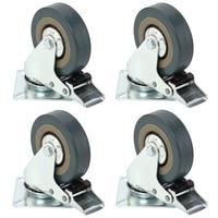 4 Pcs Heavy Duty 75x21mm Rubber Swivel Castor Wheel Trolley Caster Brake 50KG Solid Rubber 360