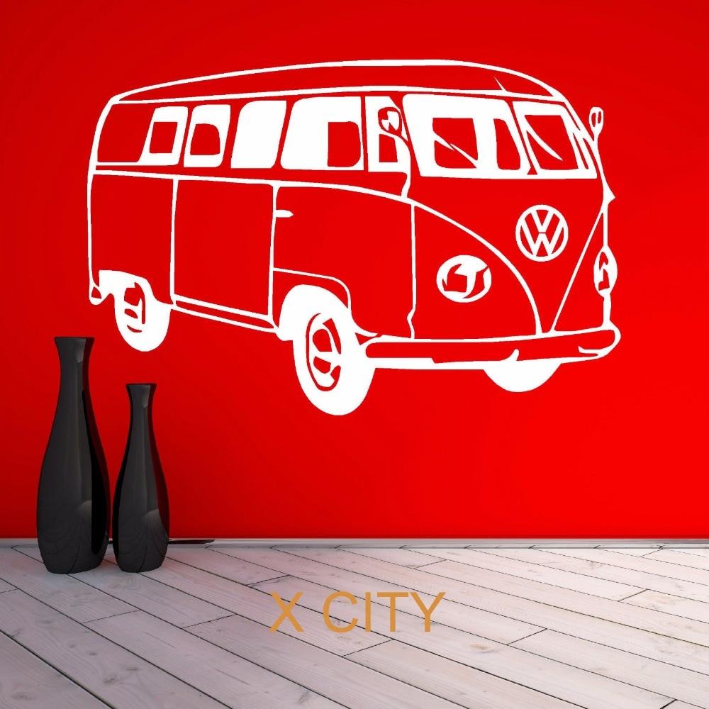 Vw camper van famous bus car wall art sticker vinyl for Decoration porte sticker