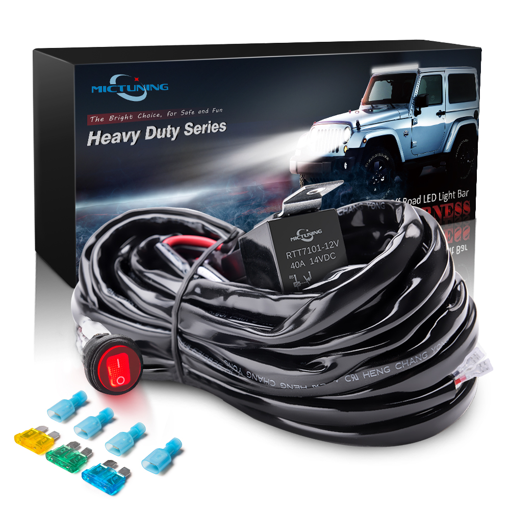 mictuning hd 300w led light bar wiring harness fuse 40amp relay on off waterproof switch 1 lead [ 1000 x 1000 Pixel ]