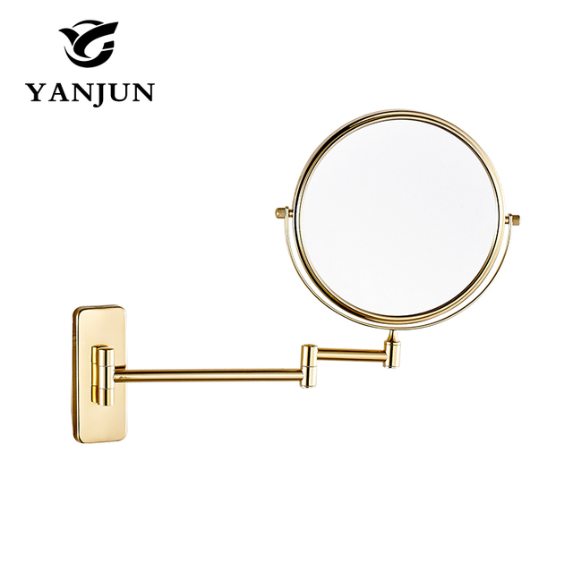 Yanjun  GOLD mirrors 1:1 and 1:3 magnifier Copper Cosmetic Bathroom Double Faced Makeup Mirror wall mirror Extend Swing Arm  8""