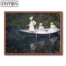 OUYIJIA Monet Oil Art Boat 5D DIY Landscape Character Diamond Famous Painting Embroidery Picture Of Rhinestone Decoration Mosaic(China)