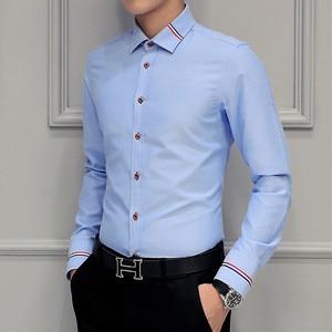 Image 2 - MIACAWOR Frühling Lange Sleeve Kleid Shirts Männer Mode Oxford Camisa Masculina Slim Fit Casual Shirt Weiß C274