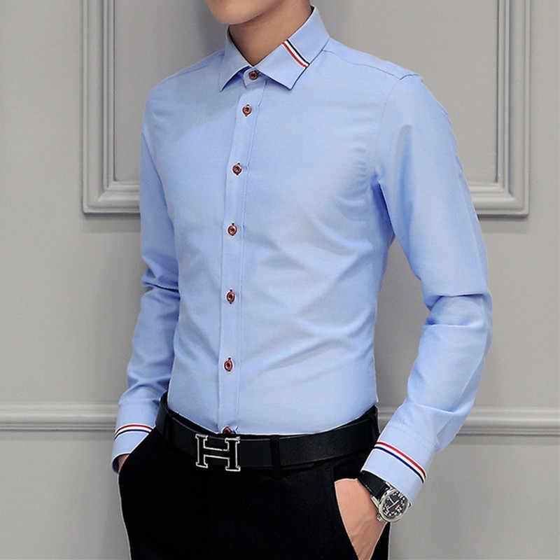 MIACAWOR 드레스 셔츠 남성 패션 옥스포드 셔츠 긴 소매 캐미 사 Masculina 슬림 피트 Camisa 사회 캐주얼 화이트 셔츠 C274