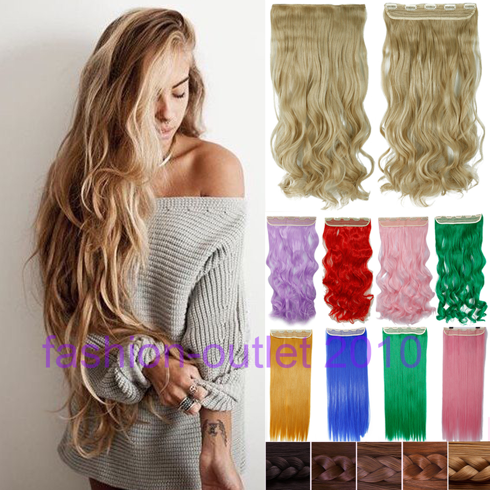 60cm clip in synthetic hair extensions long wavy curly hair one piece 5 clips blonde brown. Black Bedroom Furniture Sets. Home Design Ideas