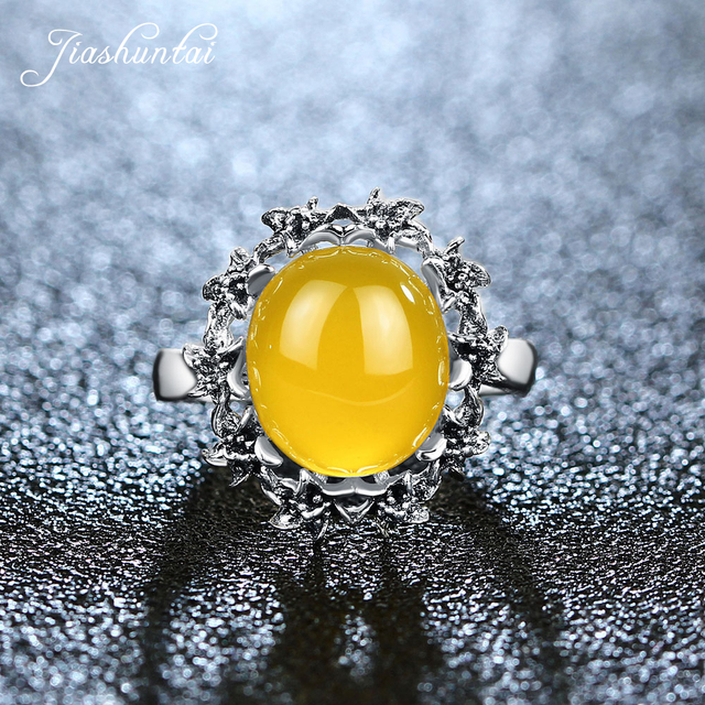 JIASHUNTAI Retro 100% 925 Sterling Silver Rings For Women Vintage Natural Yellow Chalcedony Gemstone Rings Jewelry Female