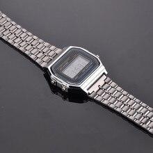 Модные Винтаж Wo Для мужчин s Для мужчин Нержавеющая сталь квадратный светодиодный цифровой секундомер наручные часы relogio masculino