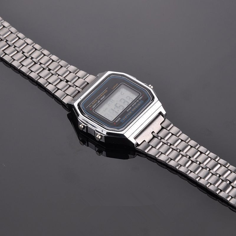 Fashion Vintage Womens Men Stainless Steel Square LED Digital Stopwatch Wrist Watch Relogio Masculino