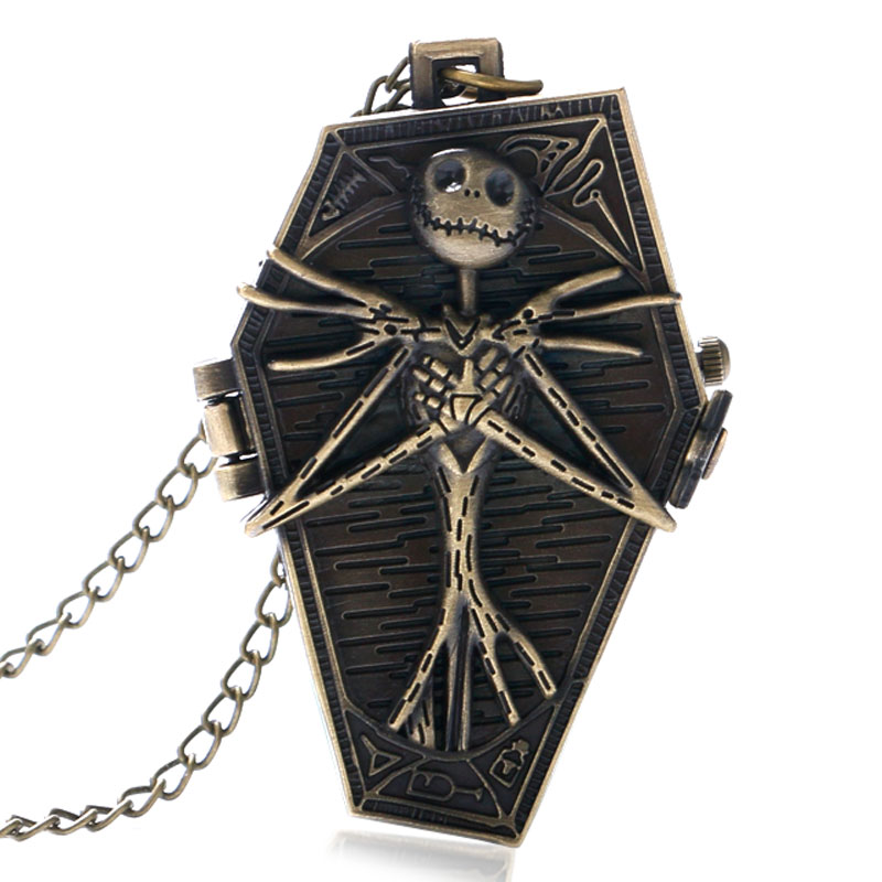 Antique Style Burton Nightmare Before Christmas Bronze Pocket Watch Retro Gift Men Pendant Quartz Gothic Necklace Long Chain