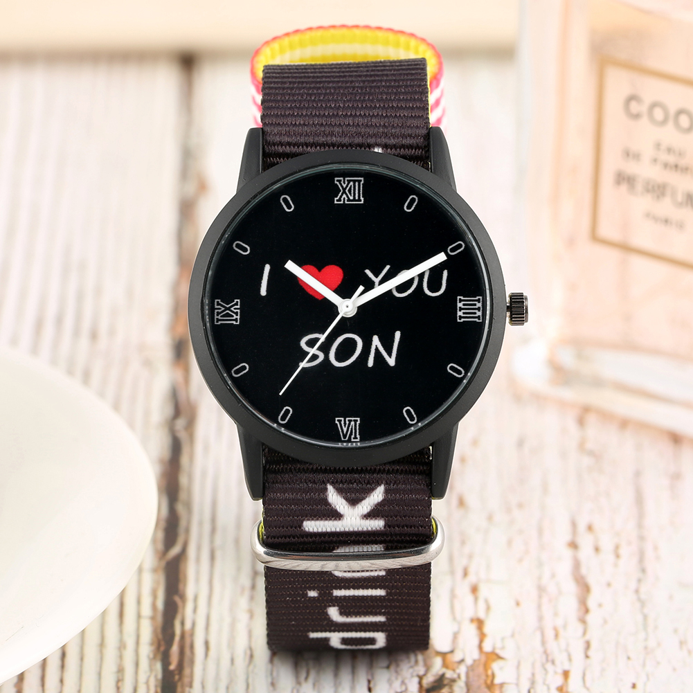 Children's Clock  I LOVE YOU SON Logo Quartz Watch Roman Numbers Dial Nylon Strap Wristwatch Children Watches For Boys