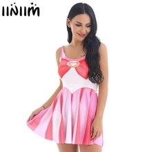 Womens Girls Sailor Moon School Cosplay Women Costume Night Clubwear U neck Printed A line Pleated Stretchy Mini Fancy Dress