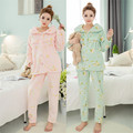 Winter Maternity Women Nursing Lounge Pajama Set Print Flannel Warm Pregnant Breastfeeding Sleepwear Lactation Home Clothes