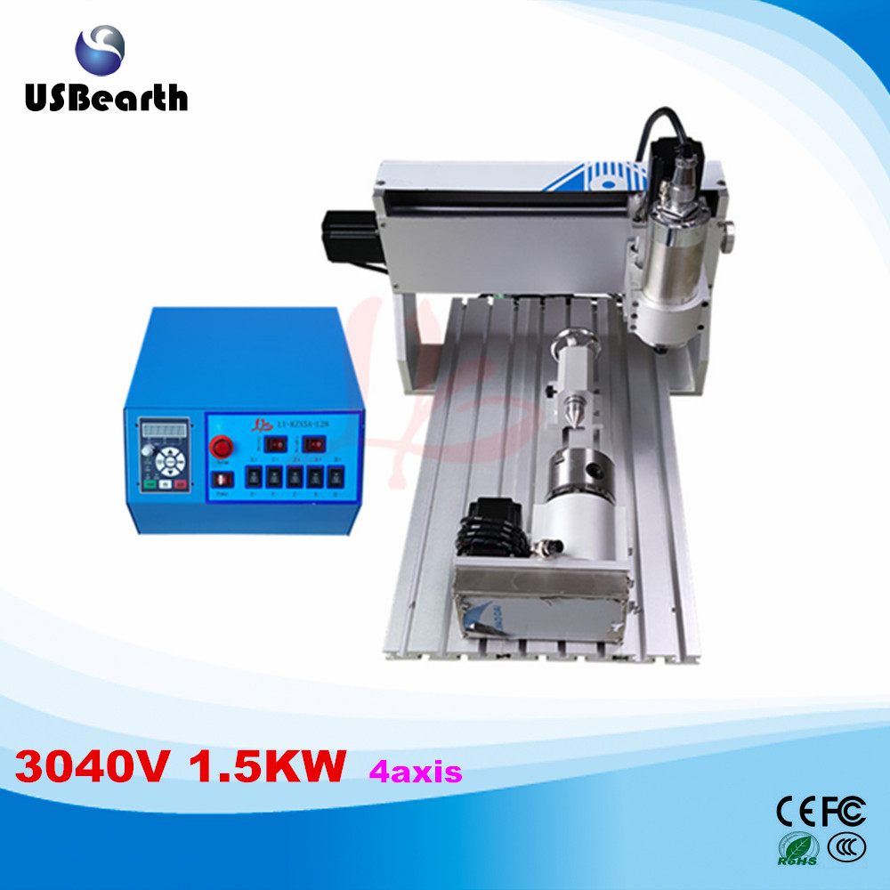 LY CNC 3040V 1.5KW 4 axis mini CNC router lathe new VFD controller duty free to RU ly 6090v 2 2kw 3 axis mini cnc carving machine lathe vfd controller for 3d metal milling work duty free to ru