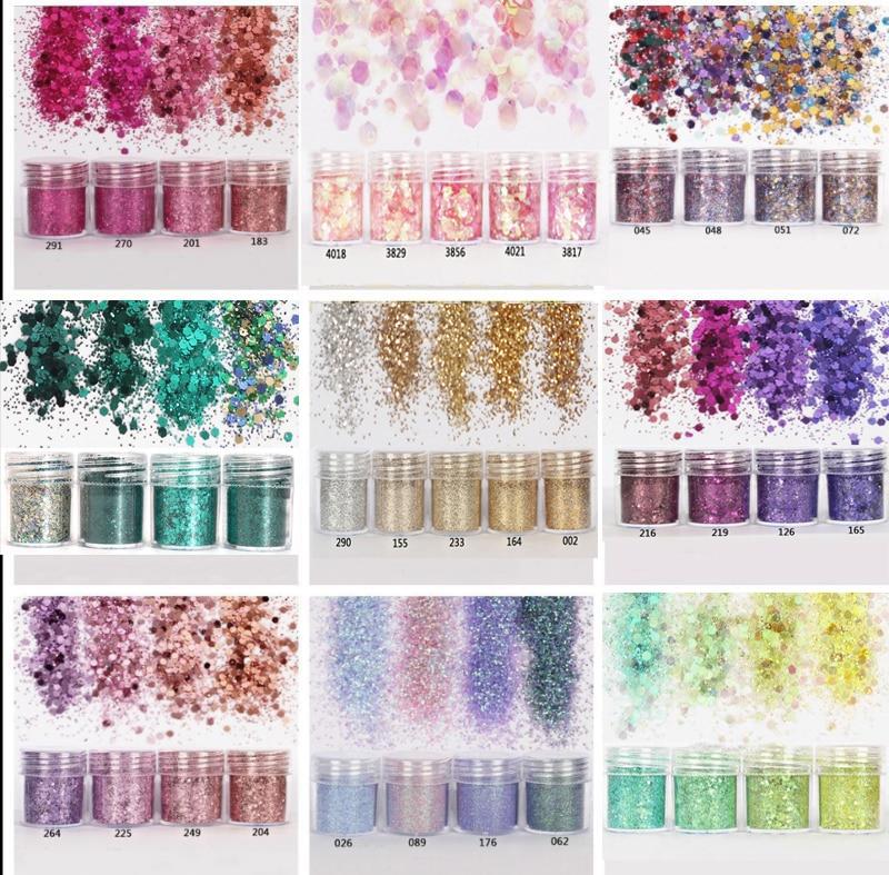 4 Farbe/set 45 DemüTigen 4 Teile/satz 0,2mm 1mm 2mm Glitter 3d Nail Art Dekoration Für Nail Art Dekoration X10ml Mix Nail Art Glitter Pulver