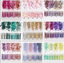 4 unids/set (4color /set) X10ML mix Nail Art Glitter Powder, 0,2mm 1mm 2mm glitter decoración 3D para uñas para decoración de uñas, 45