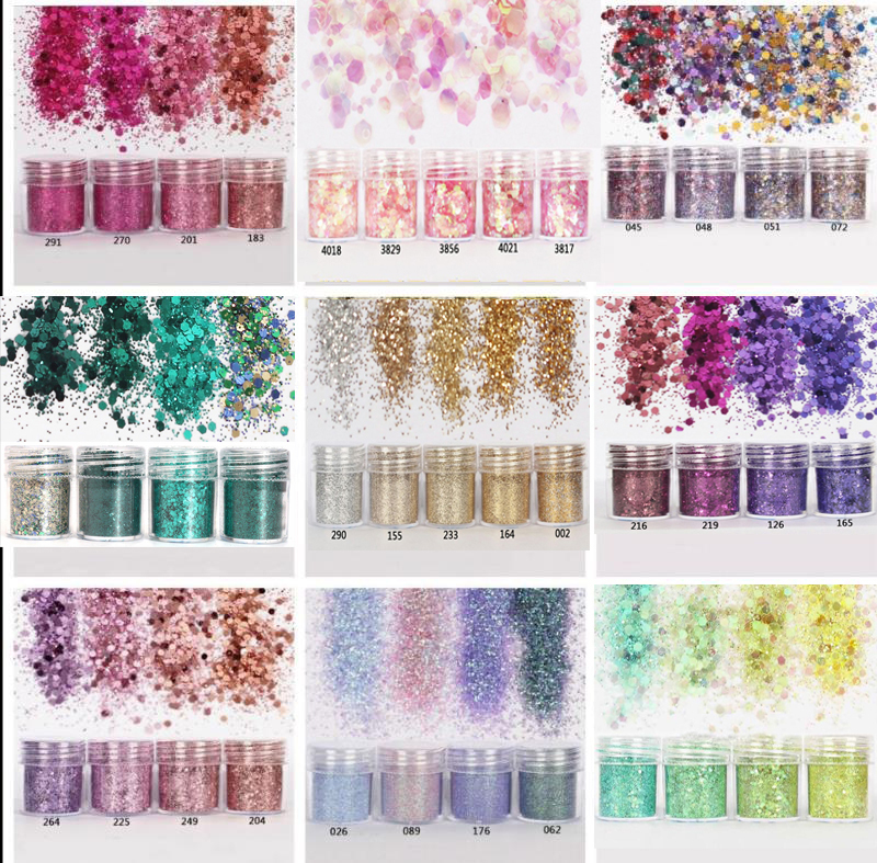 4pcs/set(4color /set) X10ML mix Nail Art Glitter Powder,0.2mm 1mm 2mm glitter 3D Nail Art Decoration For nail art decoration,45-in Nail Glitter from Beauty & Health