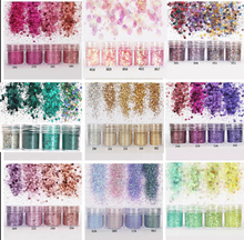 4pcs/set(4color /set) X10ML mix Nail Art Glitter Powder,0.2mm 1mm 2mm glitter 3D Decoration For nail art decoration,45
