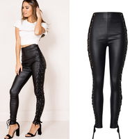 Olrain Mujeres Moda de Nueva Casual Estilo Punky Leggings Faux Pantalones Flacos Tie Up Vendaje Botas de Imitación de Cuero pantalones de Cuero Pantalones