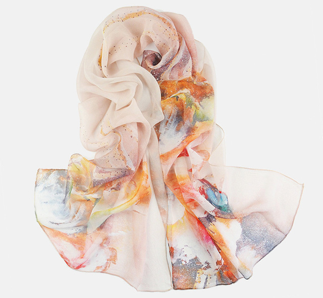 Orange Floral Silk Scarf | Lightweight Scarves | Up to 60% Off Now