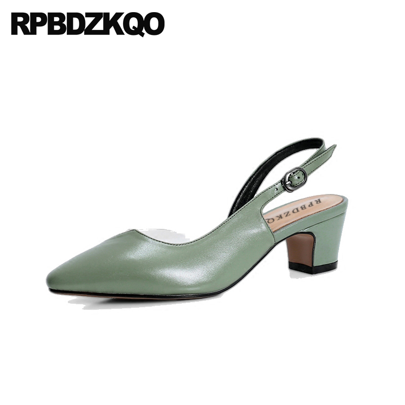 Slingback Transparent Sandals Size 33 Medium Heels Pvc Strap Block Genuine Leather Pointed Toe Pumps Green Dress Shoes Women sandals metal strap pumps square toe beige vintage medium 2017 women shoes high heels size 33 slingback belts block chinese