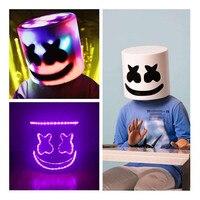 LED Flash Type Dj Marshmello Mask cosplay Props Future Bass Bar Music Party Full Head Helmet