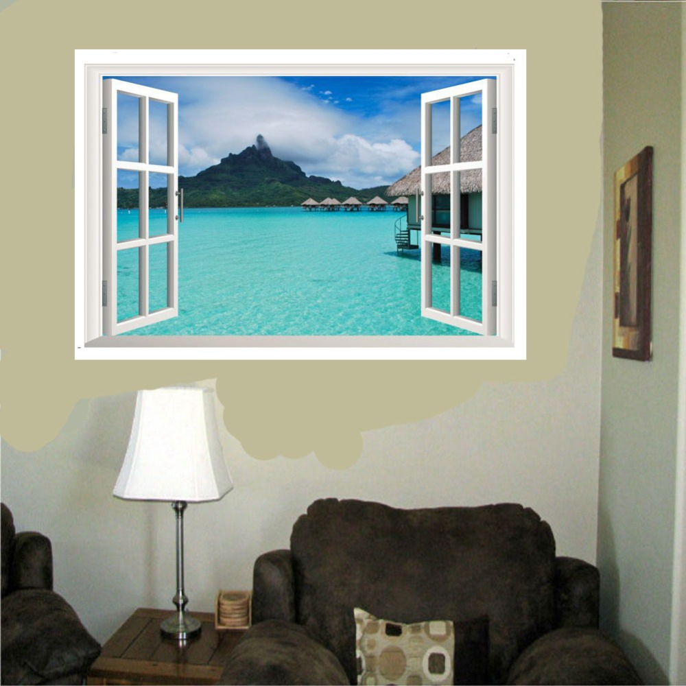 Meerblick Wandtattoo Aufkleber 3D Gefälschte Fenster ansicht ...
