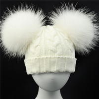 Cute Real Fur Pompom Hat For Children Winter Knit Beanies Cap With Real Raccoon Fur Ball