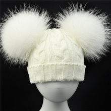 Cute Real Fur Pompom Hat for Children Winter Knit Beanies Cap with Real Raccoon Fur Ball Baby Removable Fur Pom Pom Hat Kids