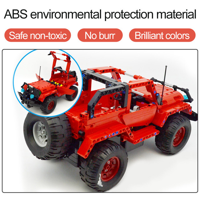 531pcs 2 in 1 Technic Series Building Block RC Jeep Wrangler Remote Control Cross Country Car Blocks Toys For Boys