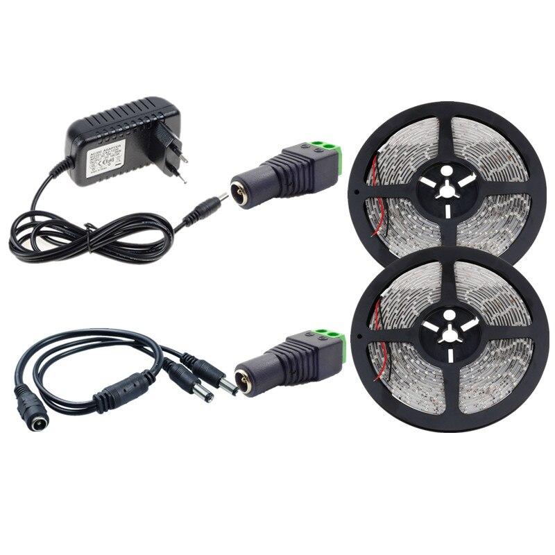 10m White Warm White Waterproof LED Strip SMD 2835 Flexible Tape Ribbon 12V 60leds/m String Lamp+12V 3A EU US LED Powe Adapter