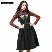 [CHENS сестра] Для женщин 2018 зимний стиль шерстяное платье с вышивкой в стиле ретро цветочный плед Женский Винтаж Стиль платья