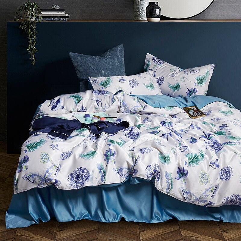 Fleurs bleu de mer 4 pièces reine roi ensembles de literie luxe soie couette housses de couette qualité lit vêtements drap taie d'oreiller drap plat