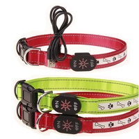 USB Rechargeable LED Dog Pet Collar High Quality Bone Footprint Pattern Collars For Dog Cats With