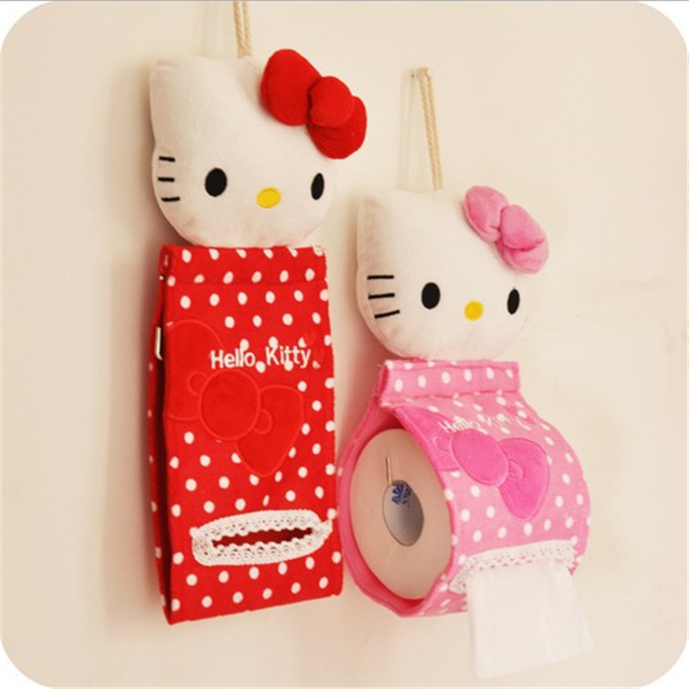 Toilet Paper office/car/restaurant Hanging paper towel tube Cute kitty Bathroom Cover Roll Box Plush Cloth Tissue Box Holder