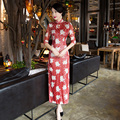 Free Shipping Half Sleeve Lace Long Qipao Chinese Women's Clothing Cheong-sam Dress Blend Cotton Qipao Dress For Women