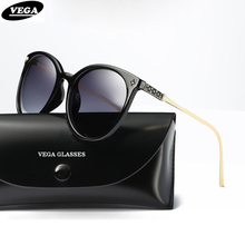 VEGA Ladies Oval Gradient Sunglasses Polarized Coating Mirror Glasses Women Exquisite Temple Integrated Nose Pads 64mm 397