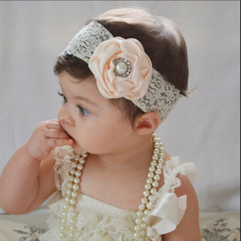 1PC Hot Newborn Headwear Kids Flower Headband White Lace Hair Bands Girl Pink Flower Scarf Hair Accessories in Hair Jewelry from Jewelry Accessories