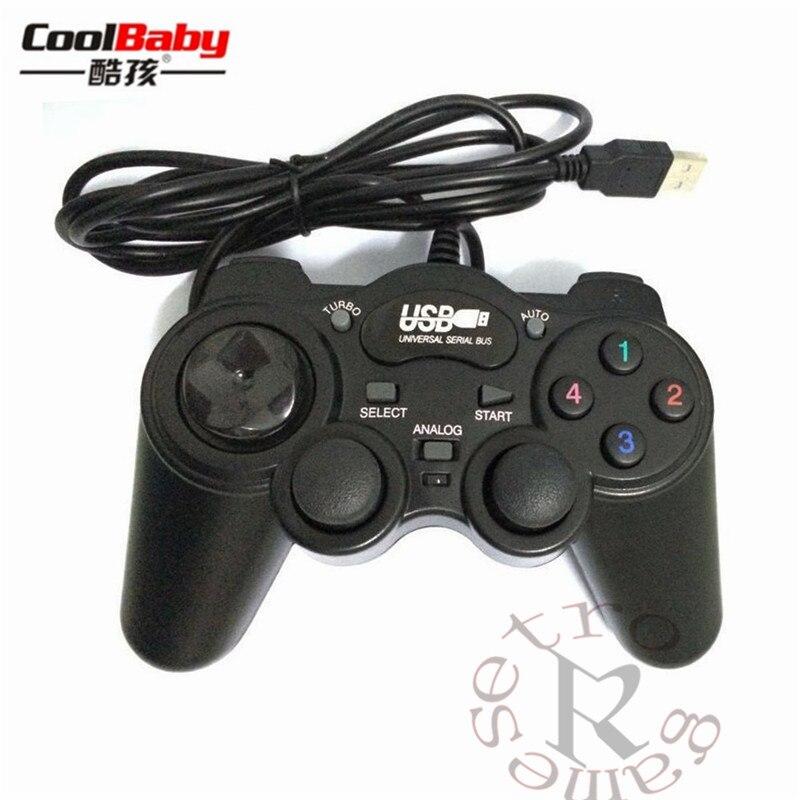 DHL 50 шт./лот проводной геймпад джойстик USB2.0 шок джойстика геймпады игровой контроллер для портативных ПК компьютер Win7/8/ 10/XP/Vista ...
