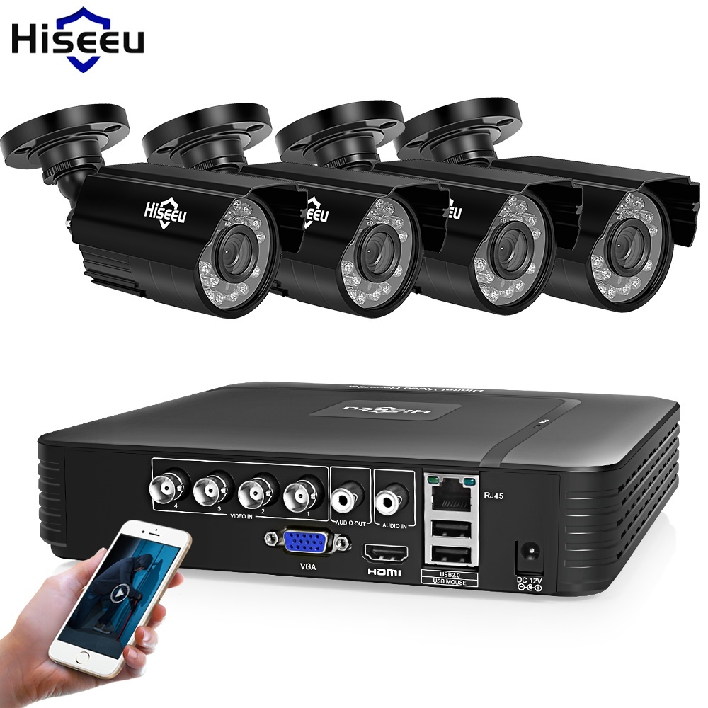 Hiseeu Home Security Cameras System Video Surveillance Kit CCTV 4CH 720P 4PCS Outdoor AHD Security Camera
