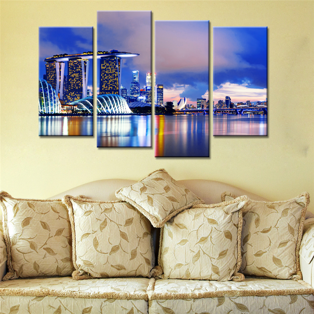 On Sales 4 Panels Wall Art Painting Landscape Buildings Colorful ...