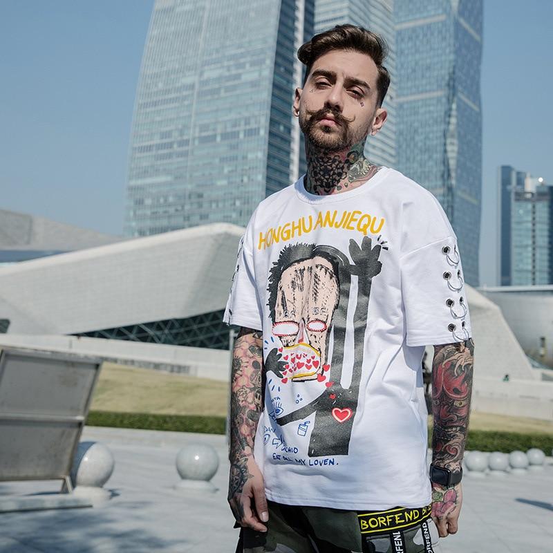 2018 Summer Funny Printed T-shirt Fashion Streetwear Mens Hip Hop Tee Shirt Tops Women White Black Cothing Street W424