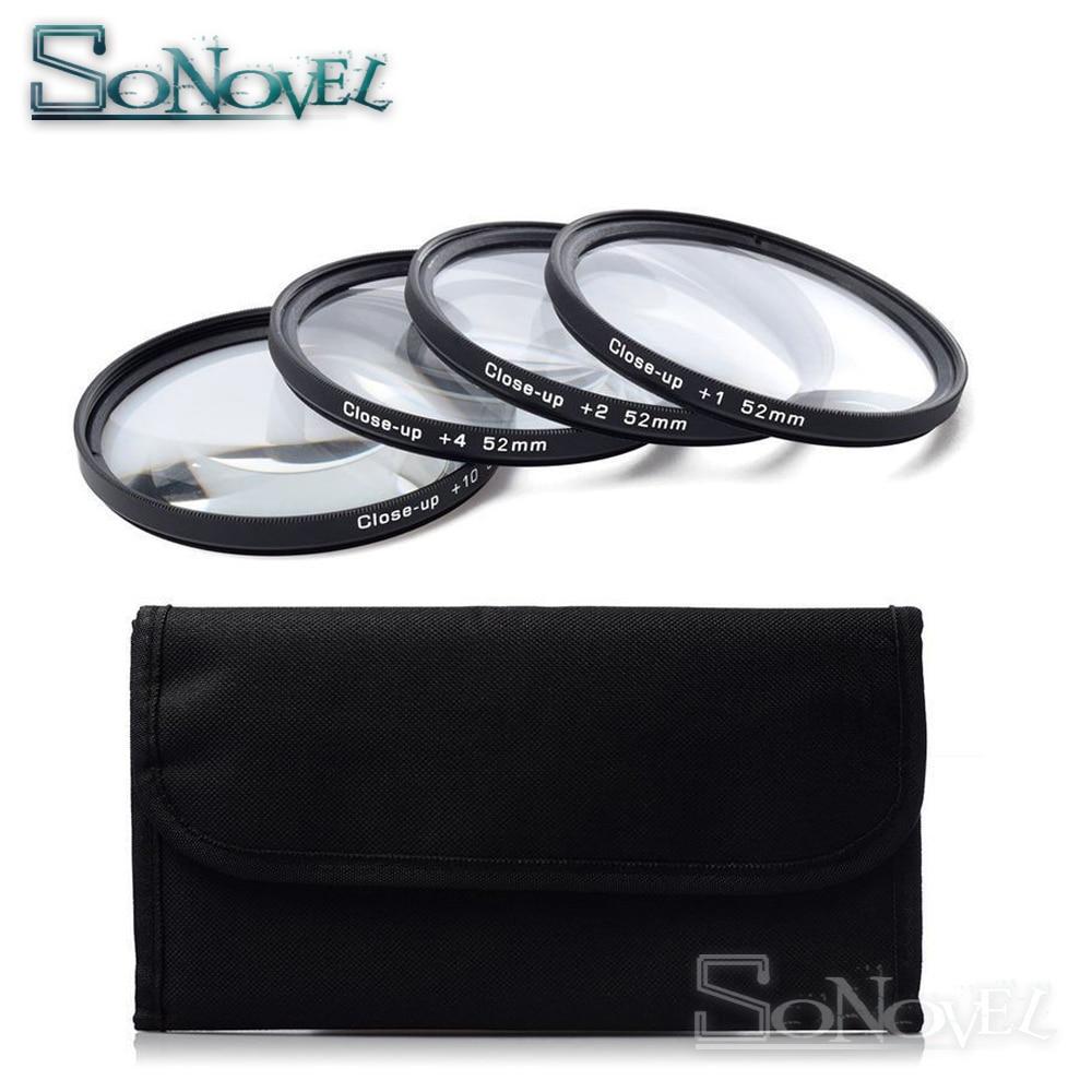 49 52 55 58 62 67 72 77mm Macro juego de lentes de filtro de primer plano + 1 + 2 + 4 + 10 con funda de filtro para cámara Canon Nikon Sony DSLR