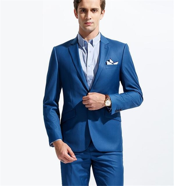 Royal Blue Tuxedo Costume Homme One Button Terno Slim Jacket Pants ...