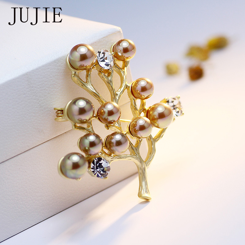 JUJIE Mode De Luxe Arbre Broches Pour Femmes 2018 Perles De Cristal Broche Pour Mariage Épingles De Plante Broches Bijoux