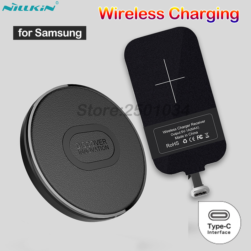 Nillkin Mini Qi Wireless Charger+Type C Receiver Wireless Charging for Samsung A3 A5 A7 2017 A6s A9s A8 A8+ 2018 C5 C7 C9 Pro