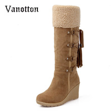 Fashion Scrub Plush Snow Boots Women Wedges Knee-high Slip-resistant Boots Thermal Female Cotton-padded Shoes Warm Plus Size