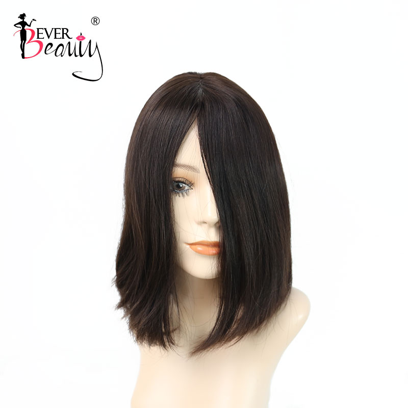 Straight Bob Double Drawn Wavy Kosher Wigs Raw Russian Human Hair Shevy Cap Jewish Wig With Silk Top Ever Beauty Remy