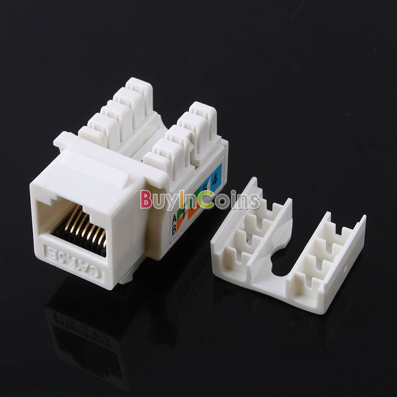 5pcs Cat5E 110 Punch Down Keystone Jack RJ45 CAT5 Network #53046(China)
