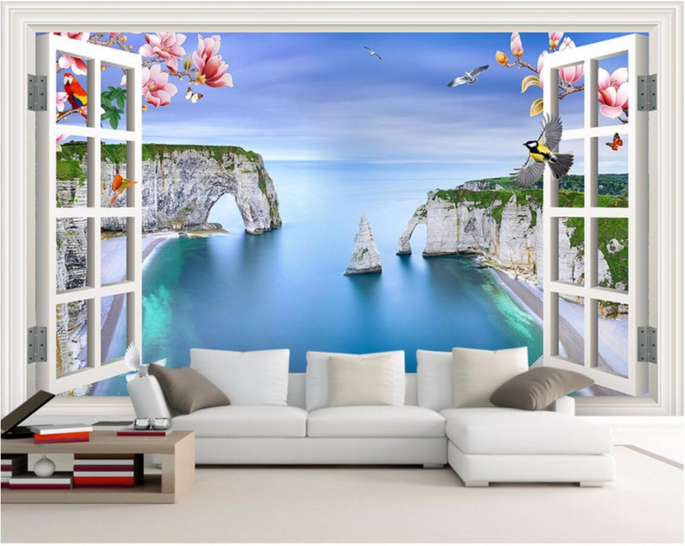 Custom Mural 3d Room Wallpaper Sea Scenery Outside The Window Home Decor  Painting 3d Wall Murals